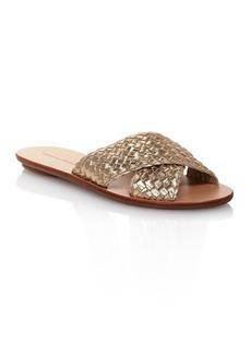 Loeffler Randall Women's Claudie Metallic Woven Leather Slide Sandals