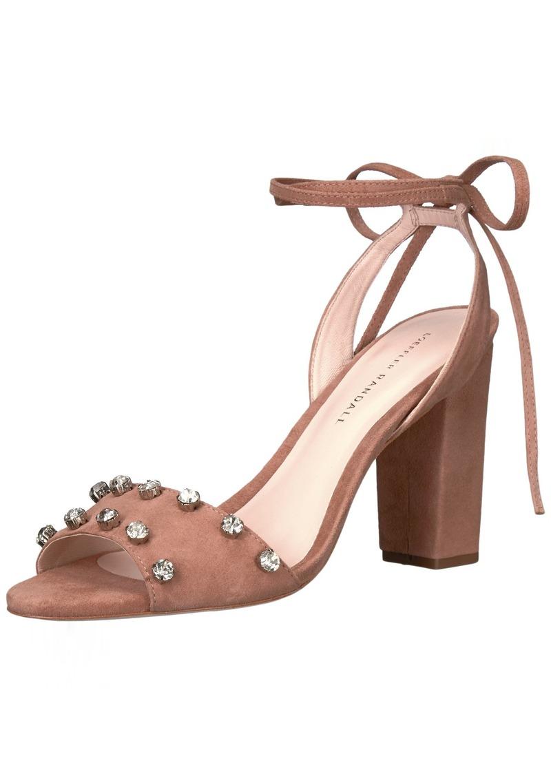 Loeffler Randall Women's Elayna Ankle Tie High Heel Sandal (Leather/Rhinestones) Heeled  8.5 B US