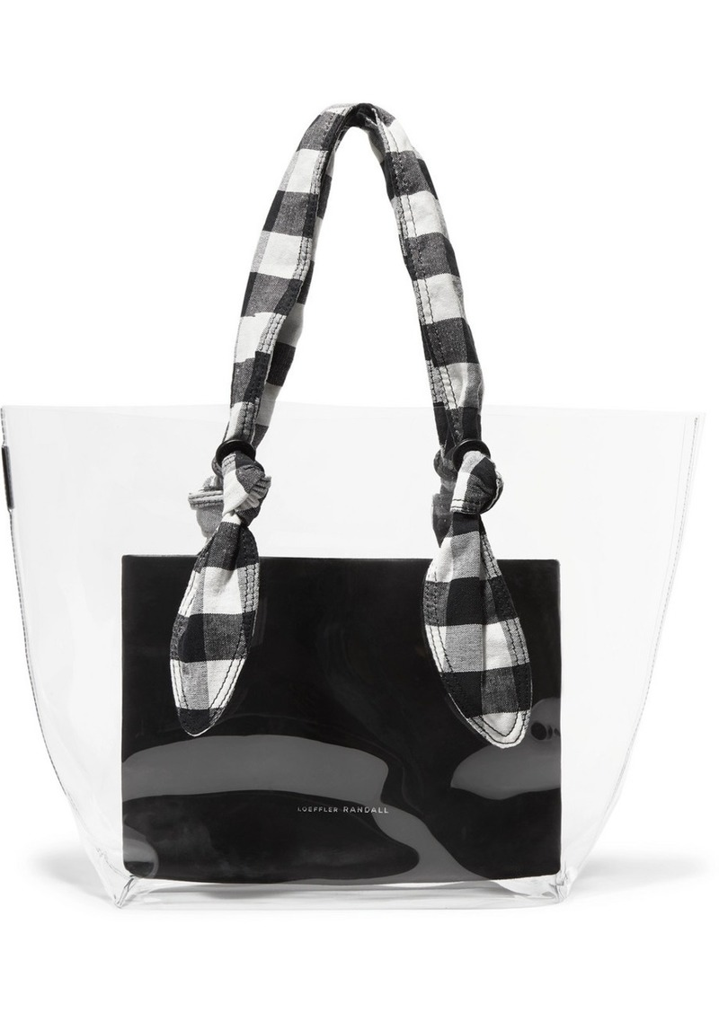 Loeffler Randall Lydia Pvc, Leather And Gingham Canvas Tote