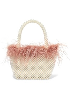 Loeffler Randall Mina Small Feather-trimmed Faux Pearl Tote