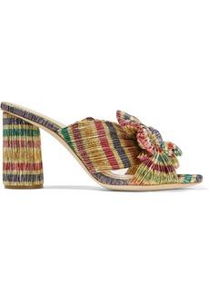 Loeffler Randall Penny Bow-embellished Striped Plissé-lamé Mules
