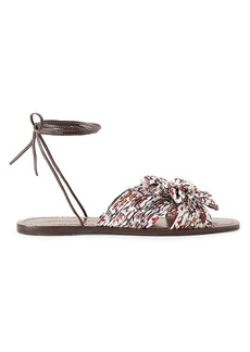 Loeffler Randall Peony Ankle-Wrap Knotted Floral Sandals