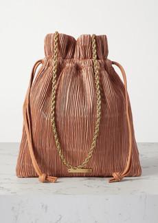 Loeffler Randall Sibyl Leather-trimmed Plissé-satin Shoulder Bag