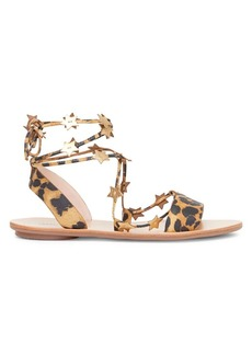 Loeffler Randall Starla Ankle-Wrap Leopard-Print Leather Sandals