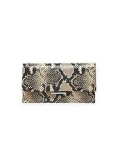Loeffler Randall Tab Snakeskin-Embossed Leather Clutch