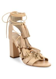 Loeffler Randall Tasseled Lace-Up Leather Sandals