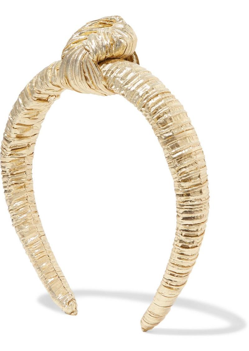 Loeffler Randall Teddie Knotted Plissé-lamé Headband