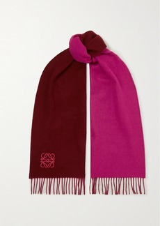 Loewe Anagram Embroidered Fringed Two-tone Wool And Cashmere-blend Scarf