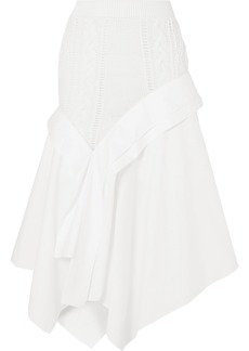 Loewe Asymmetric Cable-knit Wool And Cotton-poplin Midi Skirt