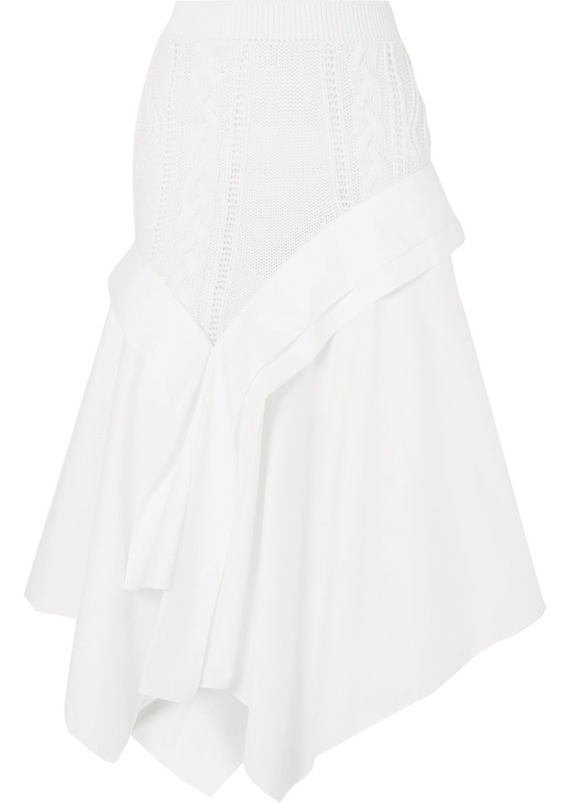 Loewe Asymmetric Cable-knit Wool And Cotton-poplin Midi Skirt
