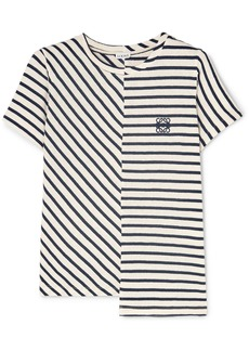 Loewe Asymmetric Embroidered Striped Cotton-jersey T-shirt