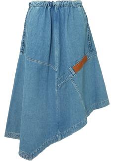 Loewe Asymmetric Leather-trimmed Denim Midi Skirt