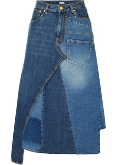 Loewe Asymmetric Patchwork Denim Midi Skirt