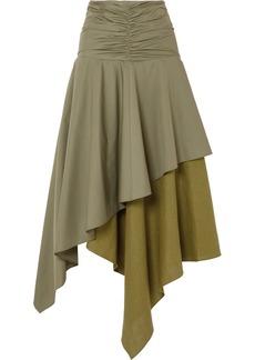 Loewe Asymmetric Ruffled Poplin And Linen Skirt