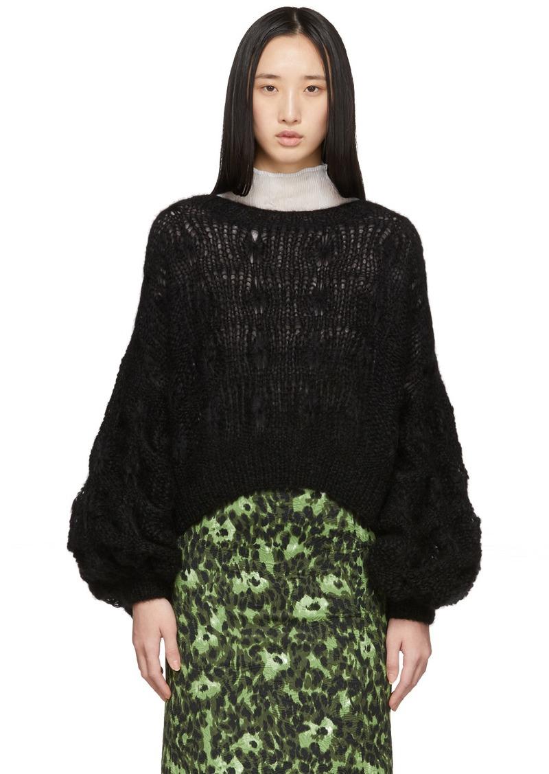 Loewe Black Mohair Balloon Sleeve Cable Sweater