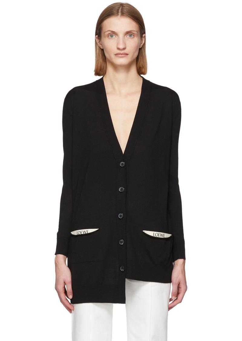 Loewe Black Wool Asymmetric Cardigan