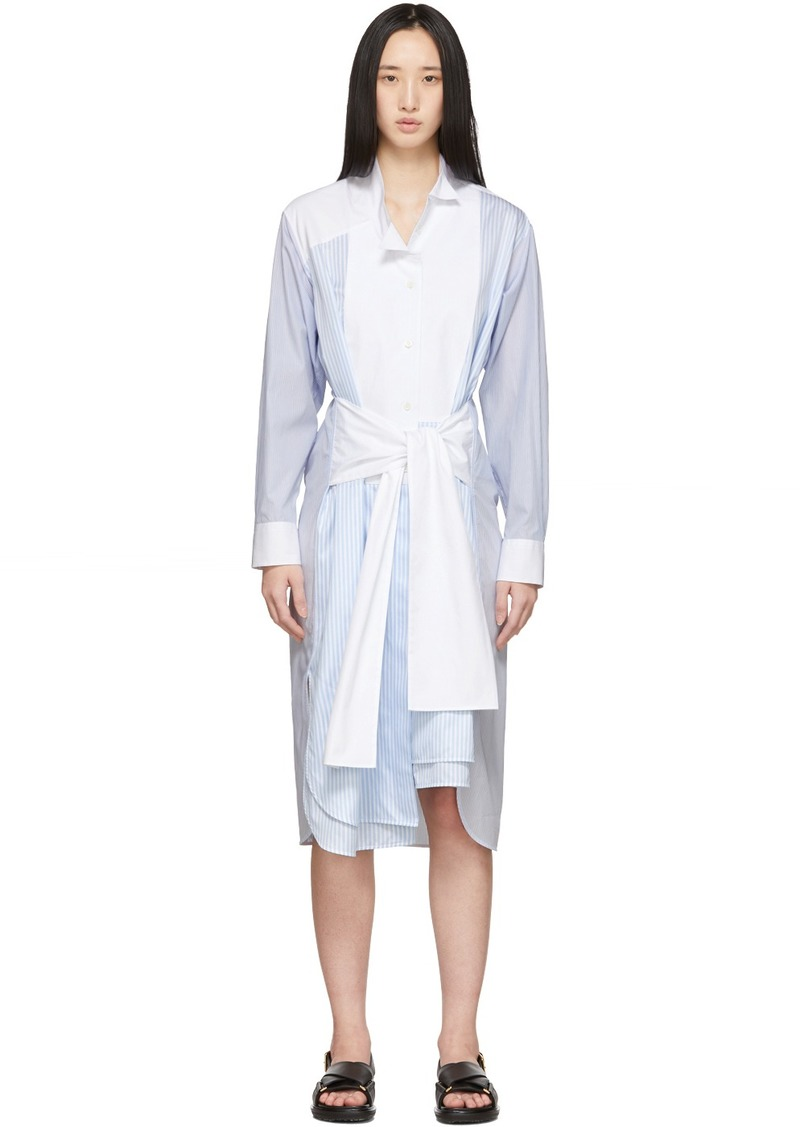 Loewe Blue & White Striped Belted Shirt Dress