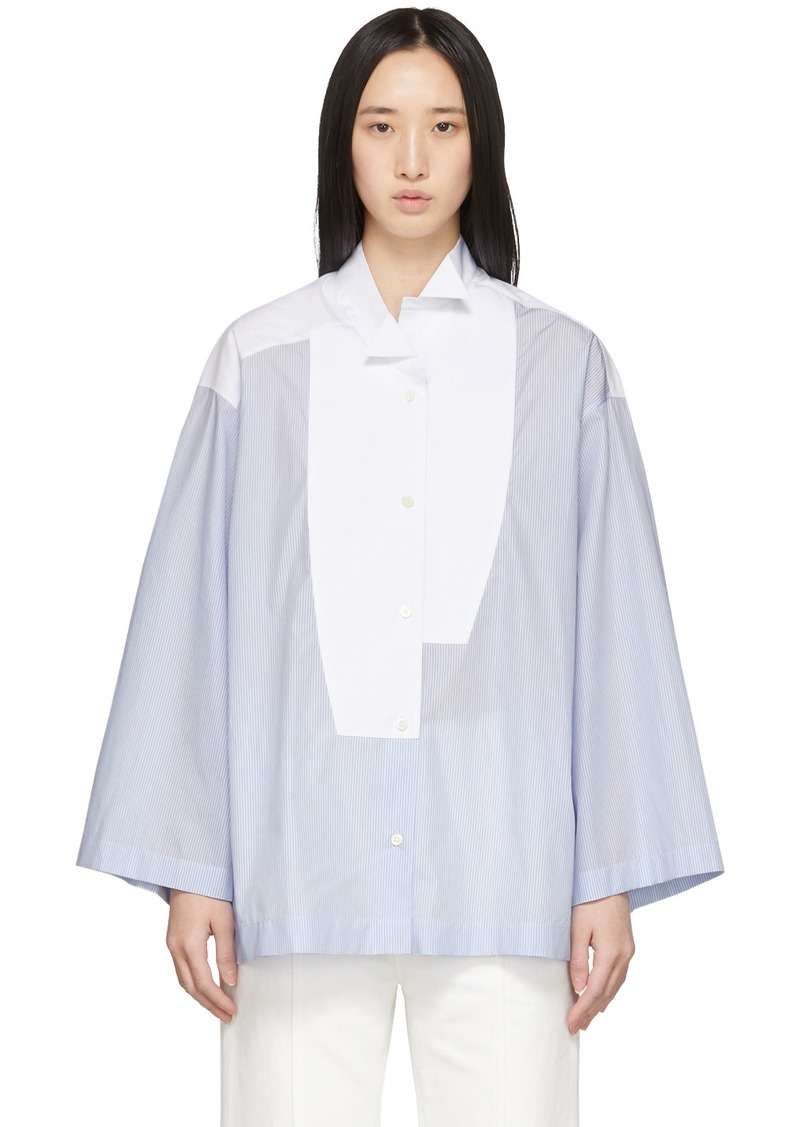 Loewe Blue & White Striped Oversized Leaning Shirt