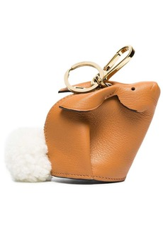 Loewe camel Bunny leather shearling tail bag charm