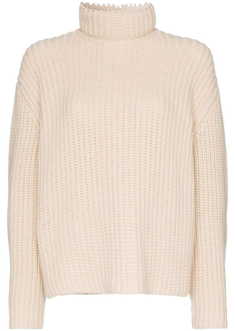 Loewe pearl-embellished cashmere knitted jumper