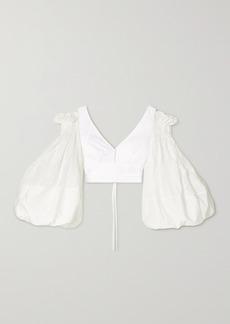 Loewe Cropped Cold-shoulder Cotton-blend Top