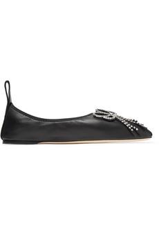 Loewe Crystal-embellished Leather Ballet Flats