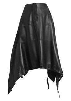 Loewe Drawstring Leather Midi Skirt