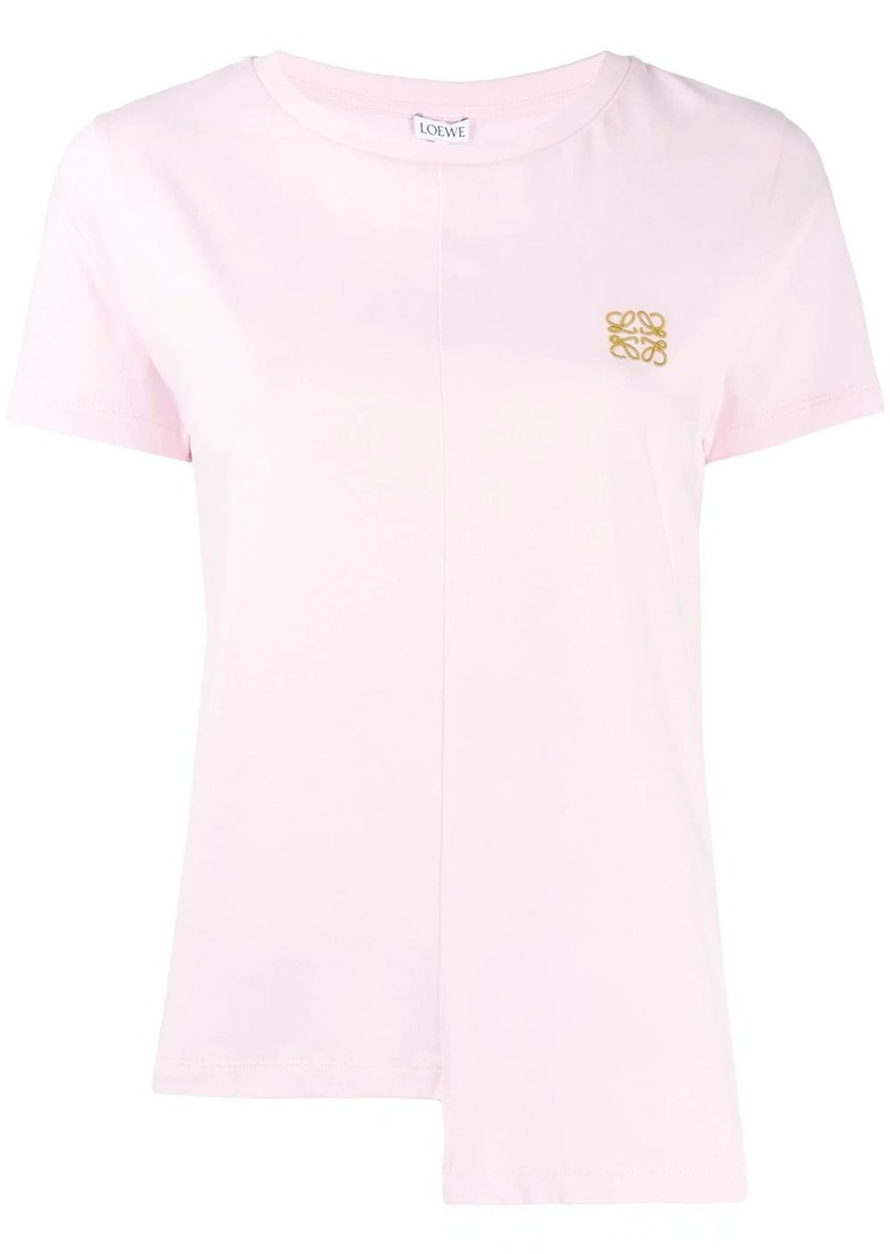 Loewe embroidered logo asymmetric hemline T-shirt