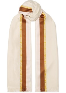 Loewe Embroidered Striped Silk, Wool And Cashmere-blend Scarf