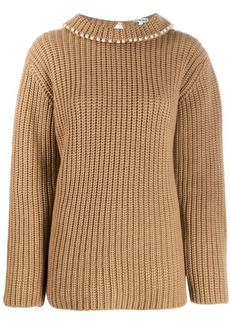 Loewe faux-pearl embellished cashmere jumper