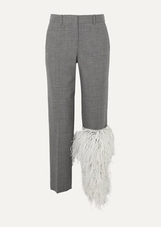 Loewe Feather-trimmed Wool Straight-leg Pants