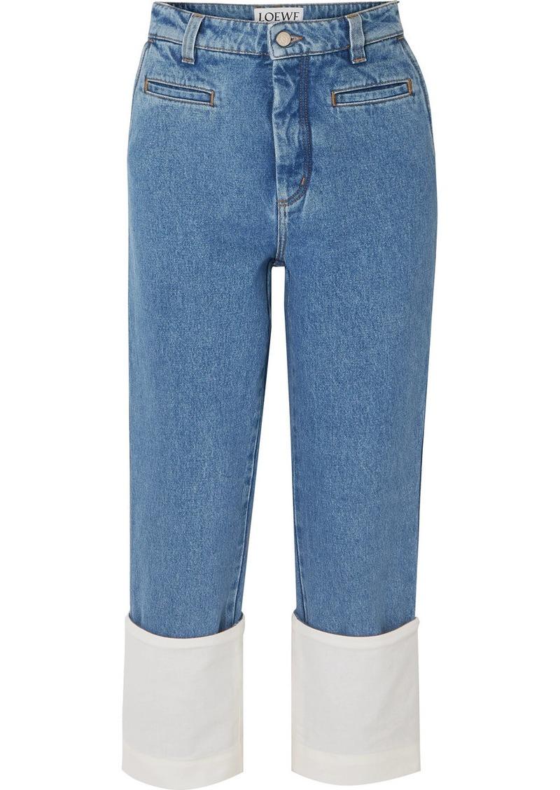 Loewe Fisherman Cotton Poplin-paneled Cropped Boyfriend Jeans