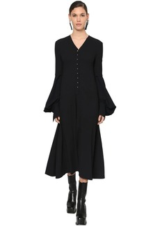 Loewe Flared Wool Crepe Midi Dress