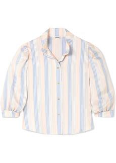 Loewe Frayed Striped Silk Blouse