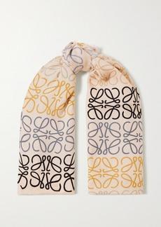 Loewe Fringed Printed Wool Silk And Cashmere-blend Scarf