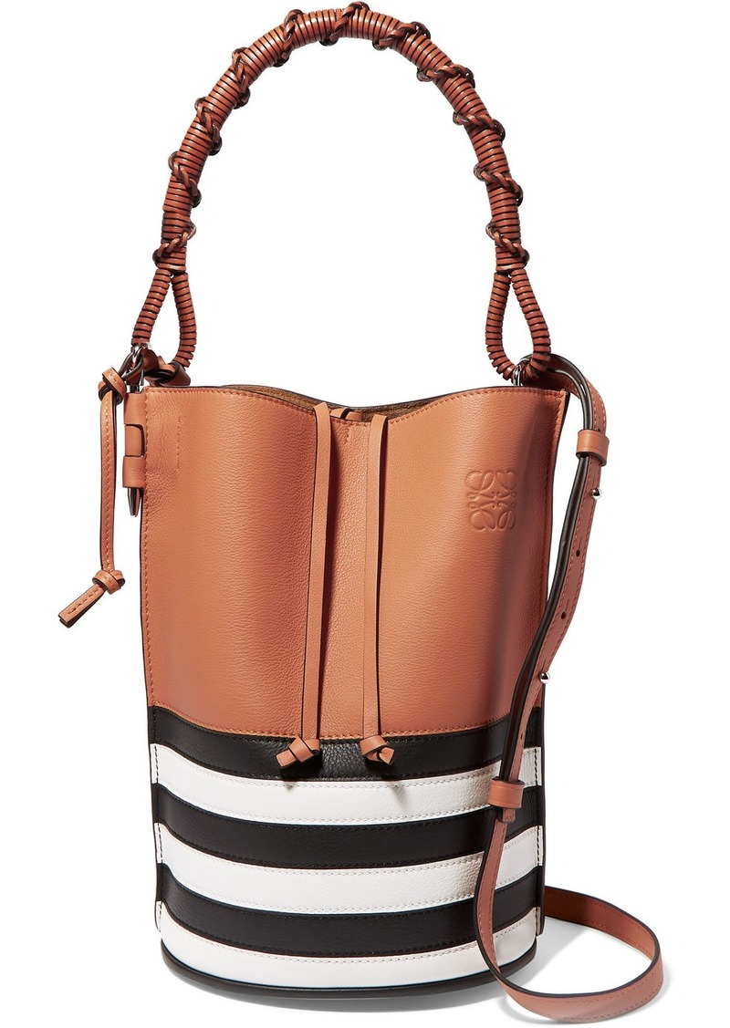 Gate Striped Textured-leather Bucket Bag