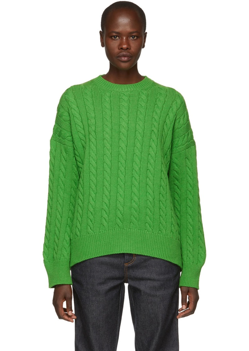 Loewe Green Cable Knit Sweater Sweaters