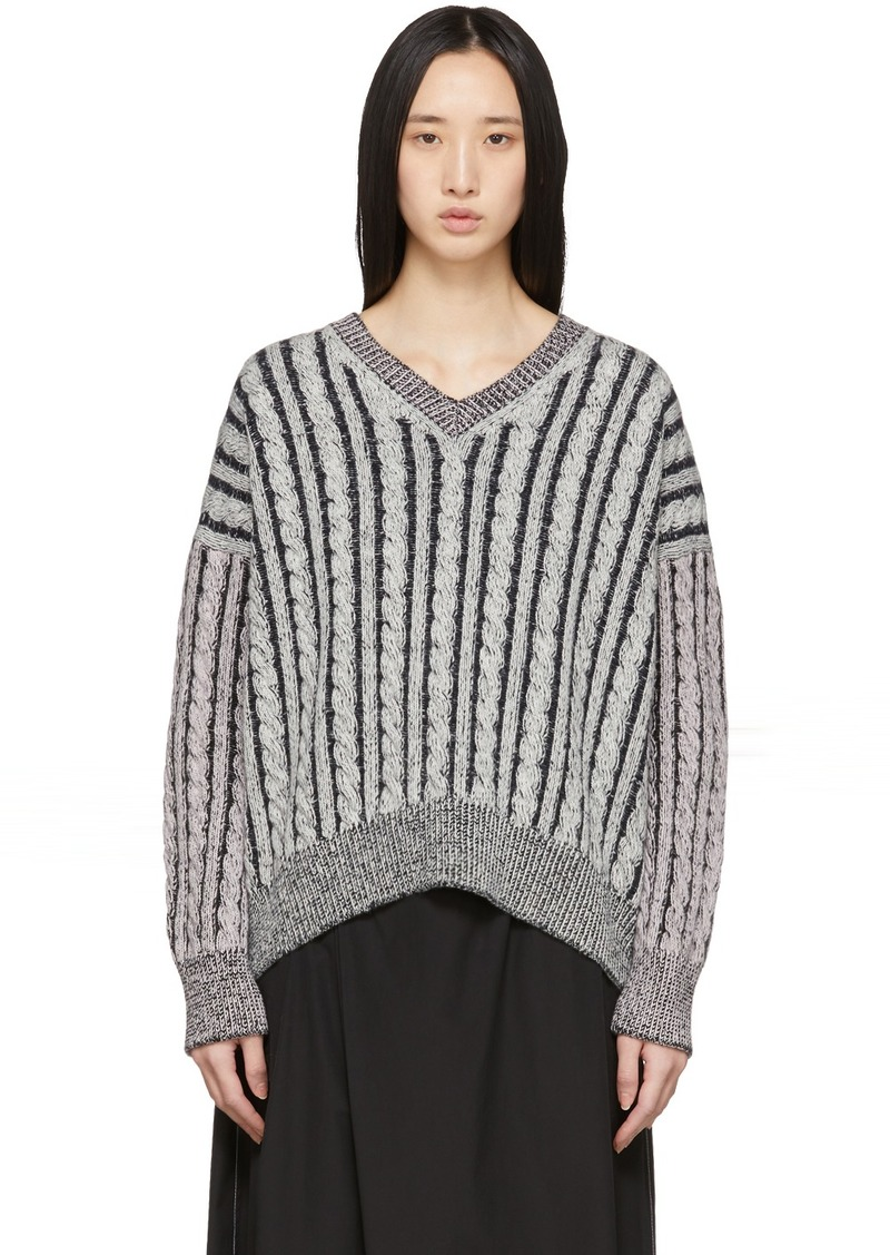 Loewe Grey Wool Cable V-Neck Sweater