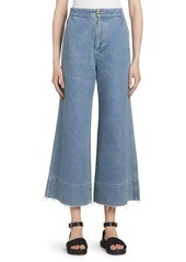 Loewe High Waist Raw Hem Flared Crop Jeans