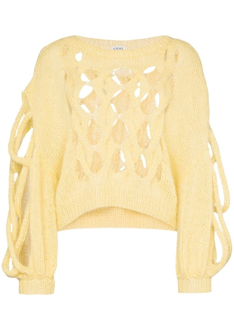 Loewe Hole detail cable knit wool sweater
