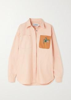 Loewe Ken Price La Palme Leather-trimmed Denim Shirt