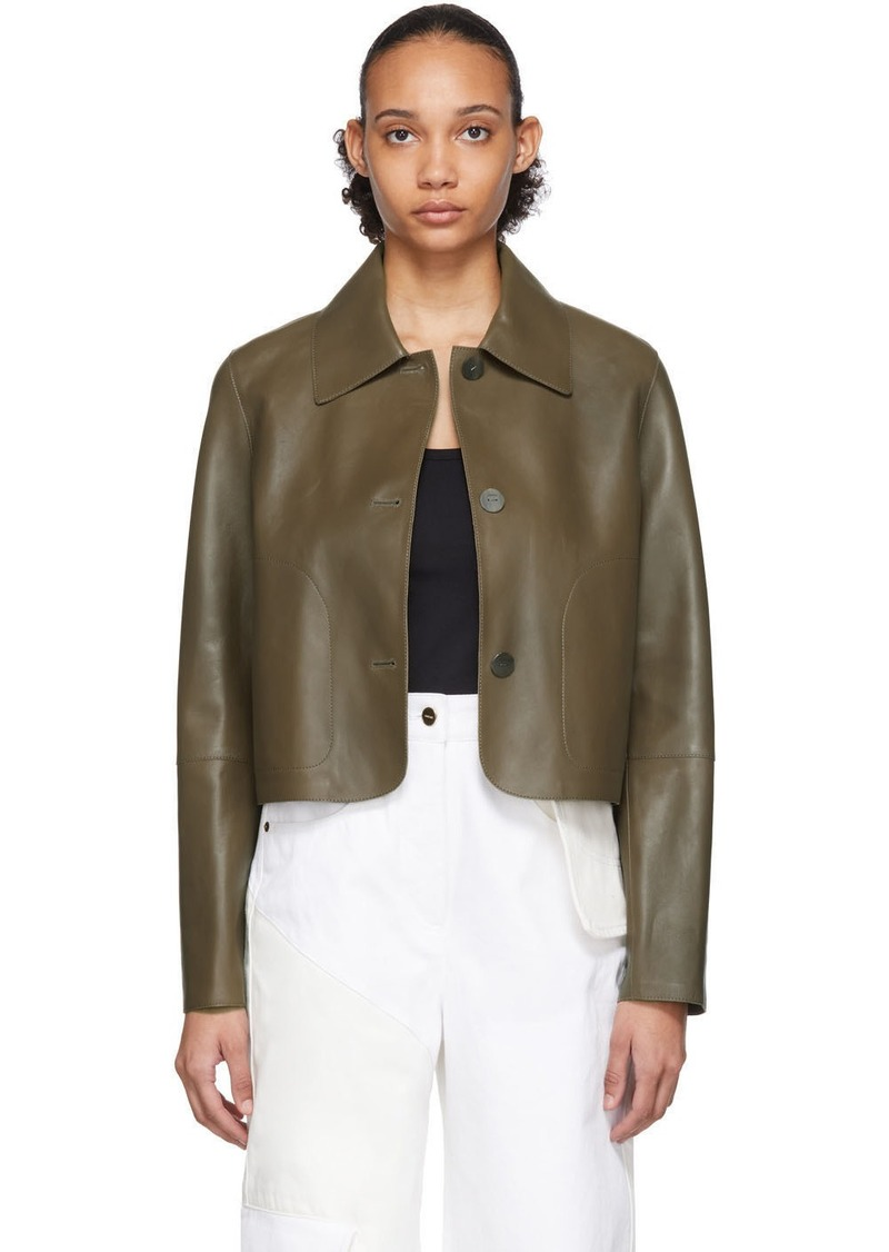 Loewe Khaki Leather Button Jacket