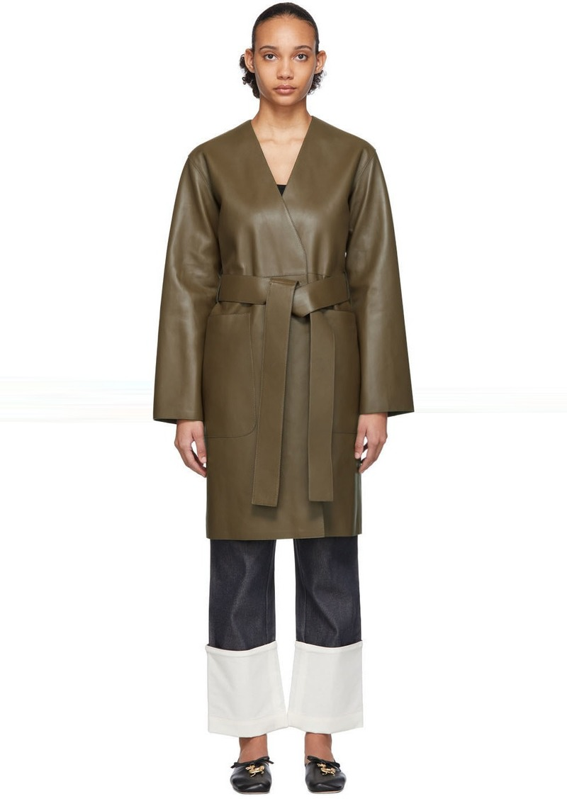Loewe Khaki Leather Nappa Short Coat