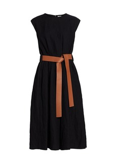 Loewe Leather Belted Cotton & Wool Midi Dress
