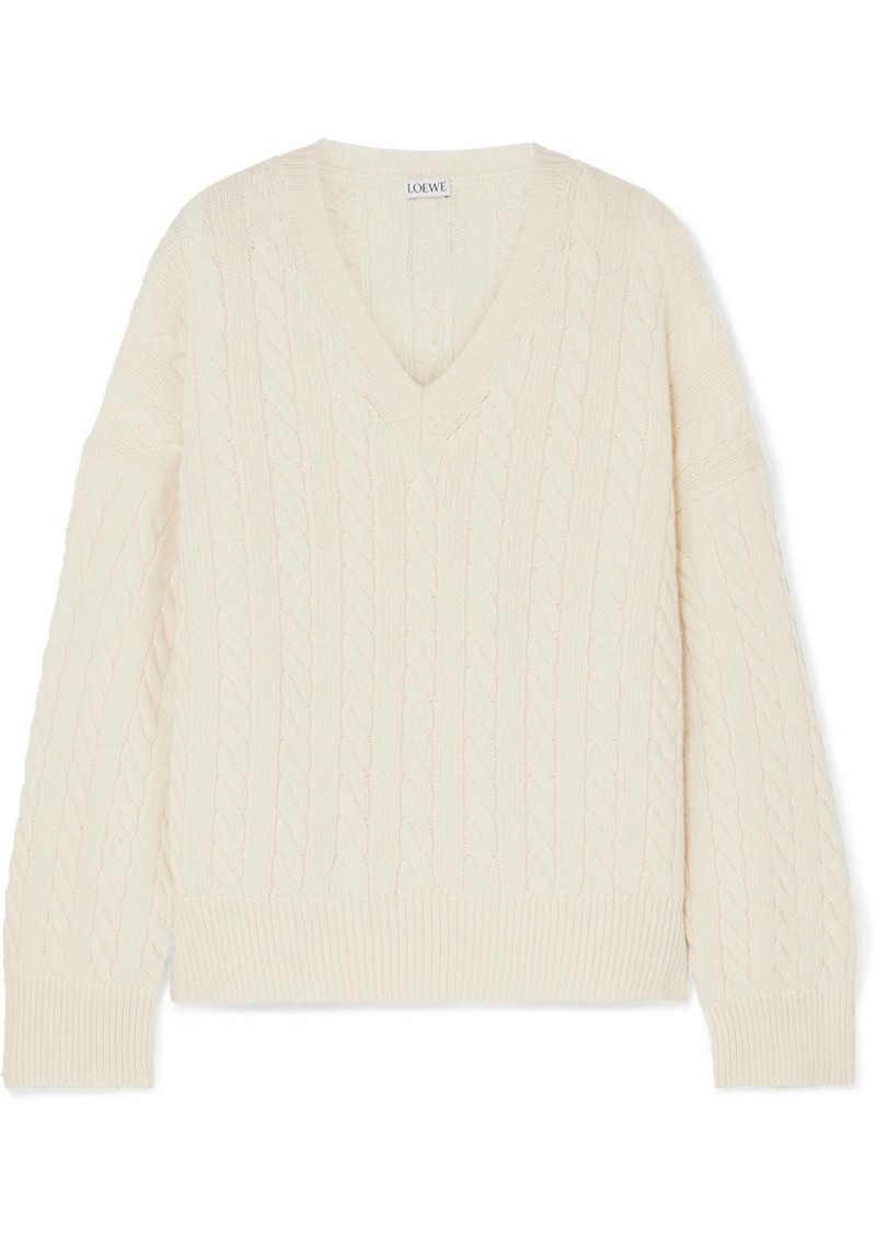 Loewe Leather-trimmed Cable-knit Wool Sweater