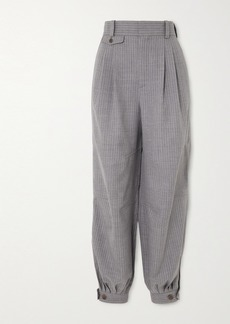 Loewe Leather-trimmed Pinstriped Wool And Silk-blend Tapered Pants