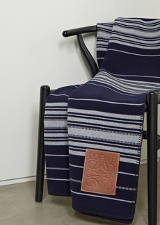 Loewe Leather-trimmed Striped Wool Cashmere And Silk-blend Blanket