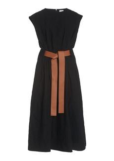 Loewe - Women's Belted Wool-Blend Midi Dress  - Black - Moda Operandi