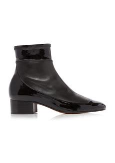 Loewe - Women's Patent Leather-Paneled Ankle Boots - Black - Moda Operandi