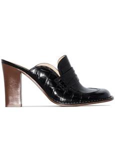 Loewe black 90 patent mock croc leather mules